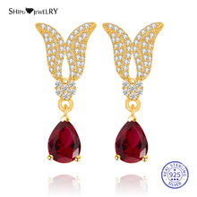 цена на Shipei 100% 925 Sterling Silver Personalized Yellow Gold Sapphire Emerald Ruby Wings Water Drop Earrings for Women Birthday Gift