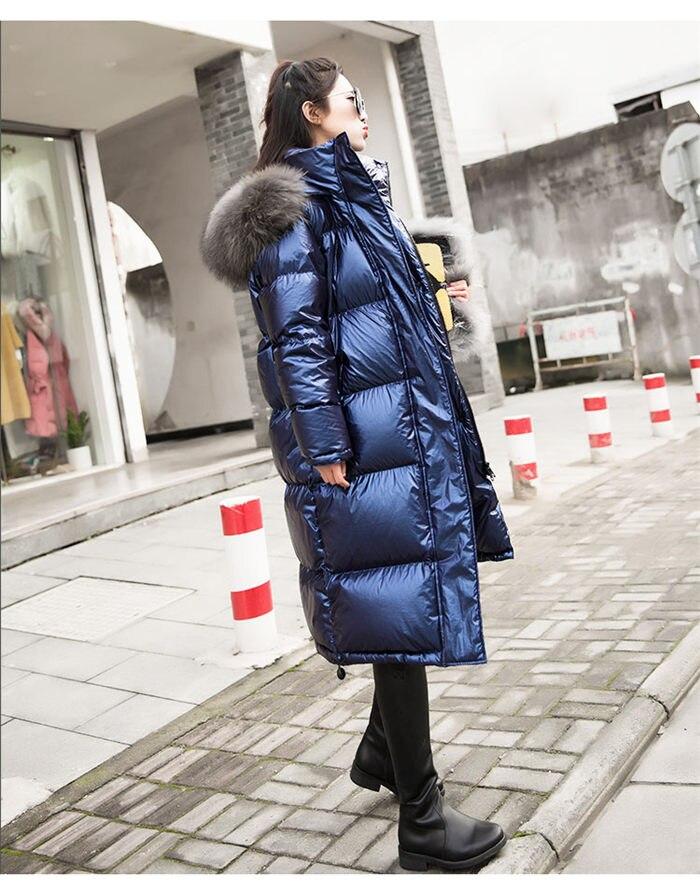 Glossy   Down     Coat   Winter Women's Waterproof Epaulet Jacket Large Size Loose Warm Thick Long Parka Hooded jaqueta feminina f1662