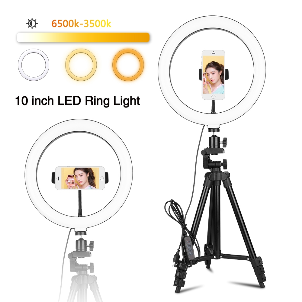 10inch 26cm USB Interface Dimmable LED Selfie Ring Light Phone Clip for Smartphone Youtube Makeup Video Studio Tripod Ring Light