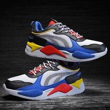 Erkekler Sneakers sevgilisi kalın taban platformu vulkanize adam karışık renk baba ayakkabı eğitmenler loaferlar büyük boy 36 46 Zapatos hombre örgü