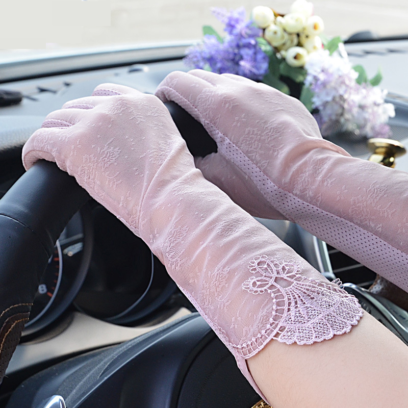 New Sun Protection Women Gloves Ladies Summer Thin Section Driving Anti-Skid Anti-UV Summer Lace Women Gloves