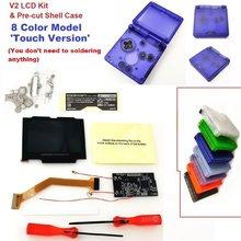 Сенсорная версия V2 iPS Hightlight LCD с подсветкой для Game Boy Advance SP для консоли GBA SP и прозрачный чехол