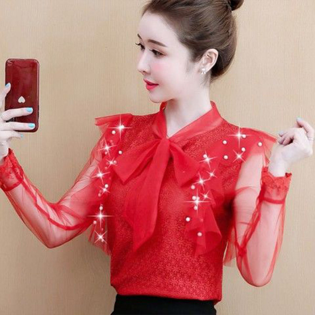 Women's Spring Summer Style Lace Blouses Shirt Women's Mesh Bow Solid Color Long Sleeve V-neck Elegant Tops SP054 4