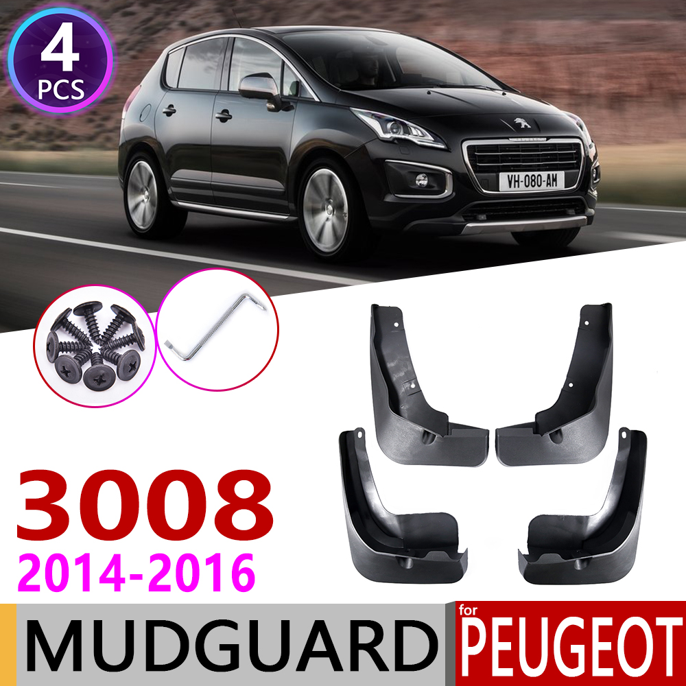 4 PCS Front Rear Car Mudflap for <font><b>Peugeot</b></font> <font><b>3008</b></font> 2014 2015 <font><b>2016</b></font> MK1 Fender Mud Guard Flap Splash Flaps Mudguards Accessories image
