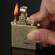 Copper Kerosene Oil Lighter Retro Flint Gasoline Lighter Metal Grinding Wheel Lighter Gadgets For Men Gifts genuine zippo copper oil lighter chrysler silver