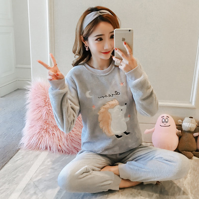 QWEEK 2019 Pijama Mujer Pajamas For Women Sleepwear Pyjamas Femme Flannel Pajamas Set Women Cartoon Sleep Lounge Dropshipping