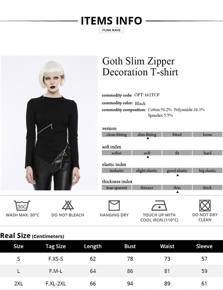 PUNK RAVE gothique taille Zipper col montant hauts noirs Stretch tricoté femmes Punk Rock T-shirt à manches longues Crop hauts chemise - 6