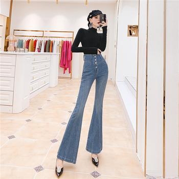 Jesień nowe dżinsowe dżinsy z wysokim stanem damskie koreańskie jeansy rozkloszowane spodnie slim spodnie damskie dżinsy damskie dżinsy dla mamy tanie i dobre opinie zeongro COTTON Poliester Pełnej długości Osób w wieku 18-35 lat 5566 WOMEN Na co dzień Stripe Wysokiej Przycisk fly