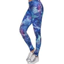Calça fitness feminina, legging azul com folhas tropicais estampada
