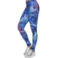 New Fashion Women Leggings Tropical Leaves Printing Blue Fitness Legging Sexy Silm Legins High Waist Stretch Trouser Pants