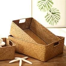 Mão-tecido cesta de armazenamento de roupas cesta de armazenamento grama tecido retangular cesta de armazenamento recipiente de armazenamento sundries organizador