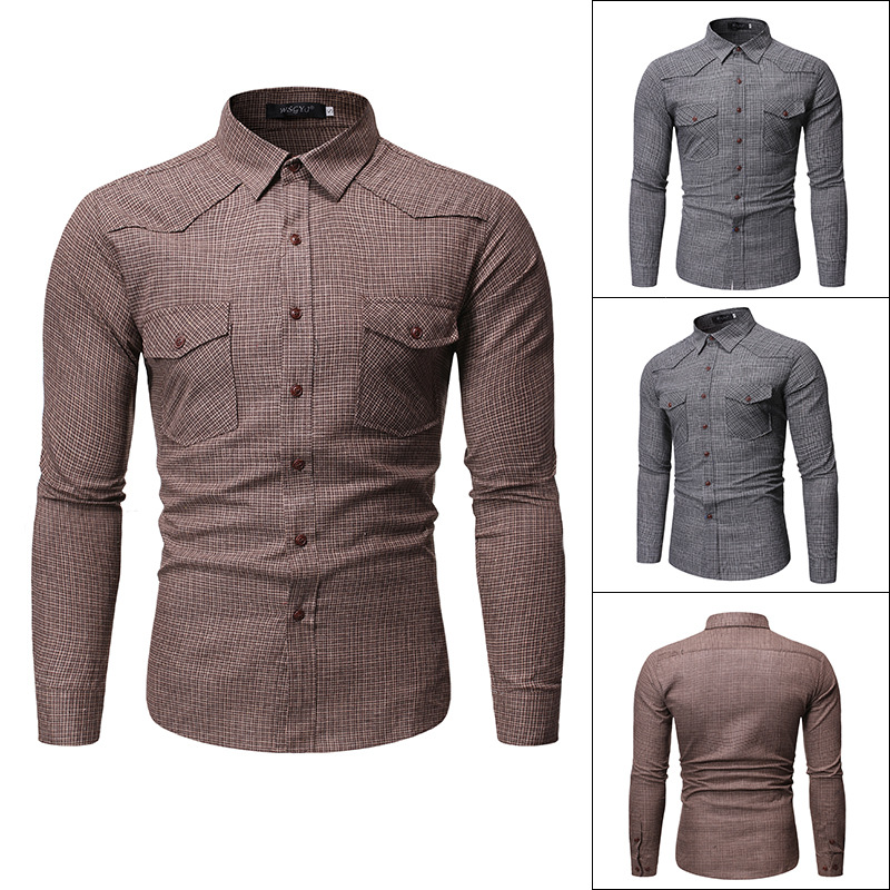 2019 Autumn And Winter New Style Europe And America Men's Casual Plaid Fold-down Collar Long-sleeved Shirt Double Pocket Large S