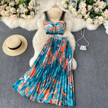 Fitaylor New Summer Women Floral Print Two Piece Set Sexy Lace Spaghetti Strap Crop Top and Casual Loose Mid-long Beach Skirt 1