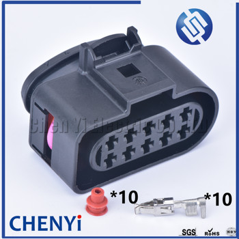 1 set 10 Pin 3.5mm Female Auto waterproof connector 1J0973735 Auto Temp Sensor Plug Deflation Valve Plug 6R0973735 For VW Audi image