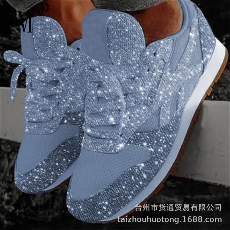 Fashion 2019 Autumn Women Flat Bling Sneakers Casual Vulcanized Shoes Female Mesh Lace Up Ladies Platform Comfort Plus Size 43
