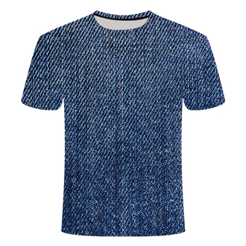 New 3d T-shirt Texture Printed Denim Shirt Men And Women Funny Round Neck Fashion Short-sleeved S-6xl