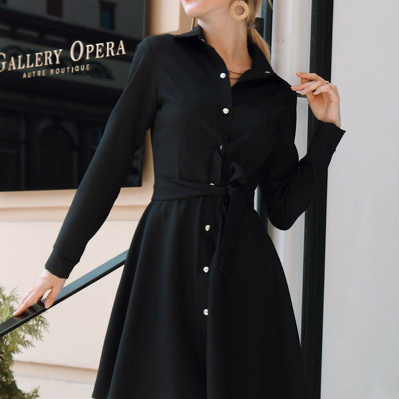 Women Vintage Front Button Sashes A-line Dress Long Sleeve Turn Down Collar Solid Elegant Dress 2019 Autumn New Fashion Dress
