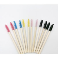 100PCS Bamboo Handle Eyelash Brush Makeup Brush Eyelash Extension Disposable Eyebrow Brush Mascara Applicator Comb Makeup Tool