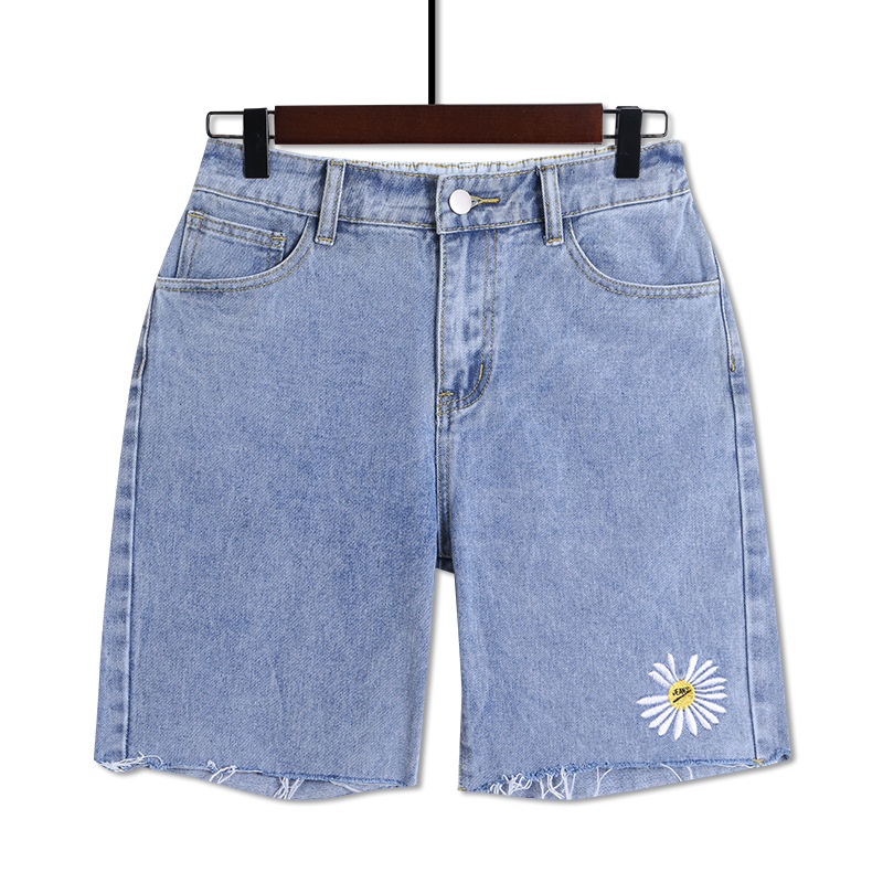 Large Size Denim Shorts Slimming Small Wrinkled Chrysanthemum Wide Leg Hot Shorts 2020 New Fashion Style High Waist Loose Summer
