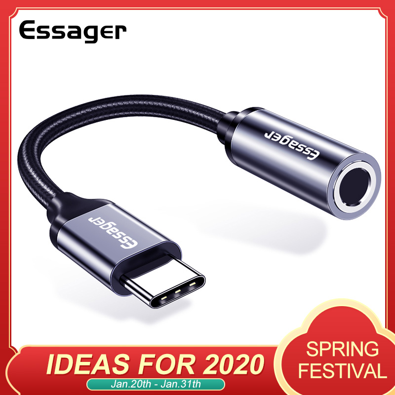 Essager Type C To 3.5mm Jack Headphone Adapter USB C To 3.5 Mm Audio Aux Cable For Huawei P30 P20 Pro Xiaomi Mi 9 8 Oneplus 7 7t