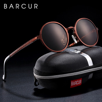 BARCUR Hot Black Goggle Male Round Sunglasses Luxury Brand Men Glasses Retro Vintage Women Sun glasses UV400 Retro Style 1