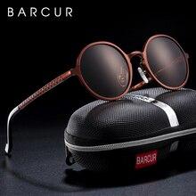BARCUR Hot Black Goggle Male Round Sunglasses Luxury Brand Men Glasses