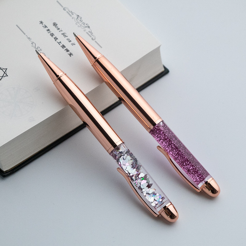 New Metal Ballpoint Pen Quicksand Sequin Signature Pen Business Office Gift Pen