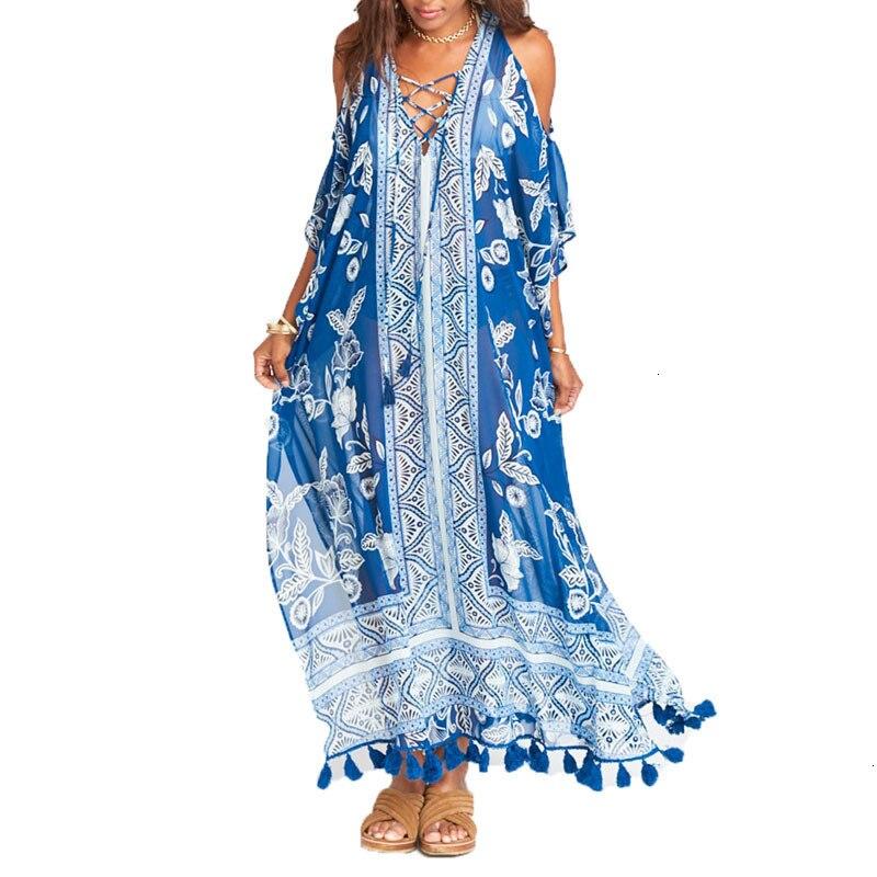 FORERUN Cold Shoulder Dresses Women Summer Long Maxi Coffee Beach Tunnel Vintage Printed Chiffon Casual V neck Robe Longue