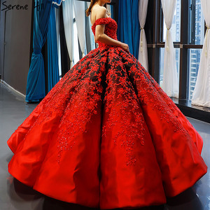 Image 3 - Vestido de novia negro y rojo, hombros descubiertos, Sexy, Vintage, de gama alta, trajes de novia con perlas, foto Real HM66842, hecho a medida, 2020