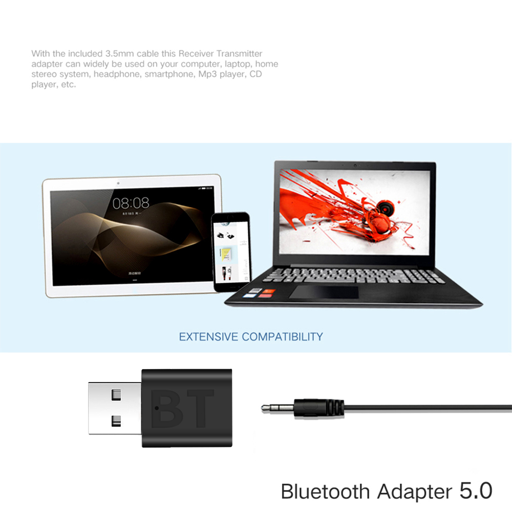 3.5mm AUX Bluetooth 5.0 Car Kit Wireless Music Stereo USB Power Audio Receiver Adapter Auto Bluetooth AUX for Car Radio MP3 PC 4