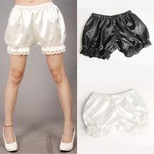 Anti exposição lolita cosplay laço feminino bolha bloomer sob shorts elásticos lanterna shorts preto branco feminino shorts atacado #25