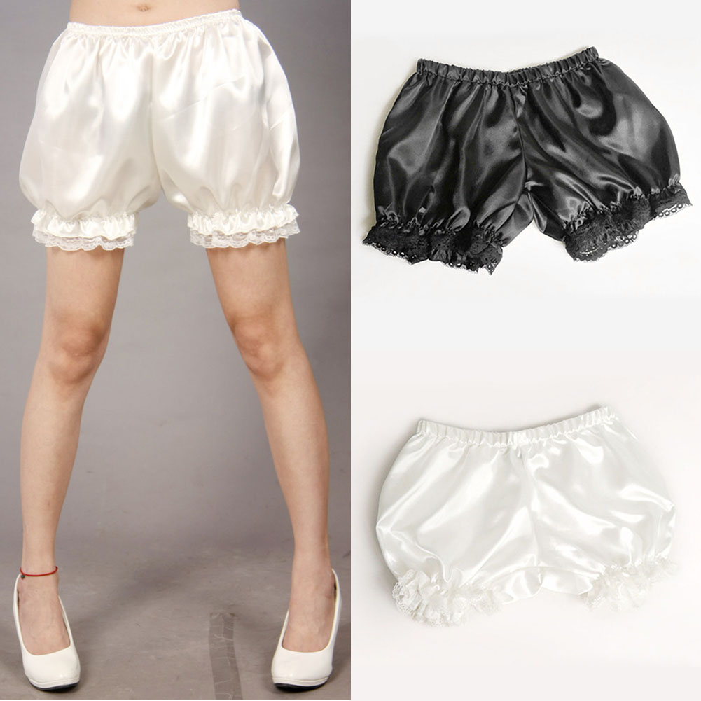 Anti Exposure Lolita Cosplay Lace Women Bubble Bloomer Under   Shorts   Elastic Lantern   Shorts   Black White Women   Shorts   Wholesale#25