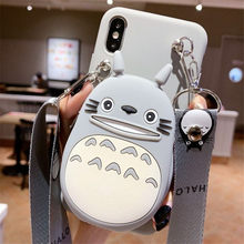3D Cartoon Totoro Cony Sally Zipper Wallet Phone Fall für IPhone 11 Pro XS Max XR X 10 8 7 plus SE 2020 Nette Weiche Silikon Abdeckung(China)