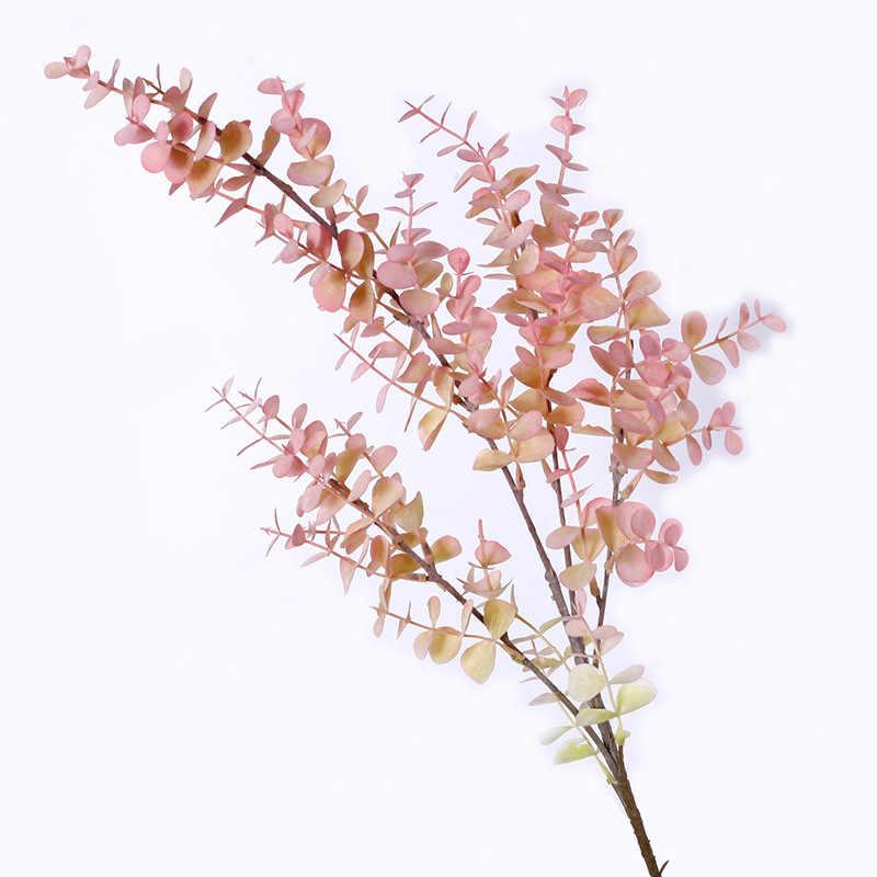 40 ซม.5pcs Tropical Eucalyptus พืชประดิษฐ์ปลอมต้นไม้สาขาพลาสติกใบจริง TOUCH ปลอมดอกไม้สำหรับงานแต่งงาน decor