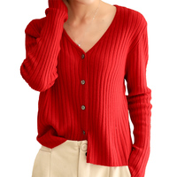 BELIARST 2020 Spring New Pure Wool Cardigan Woman V Neck Sweater Wild Outfit Slim Sexy Pitted Knitted Cashmere Cardigan