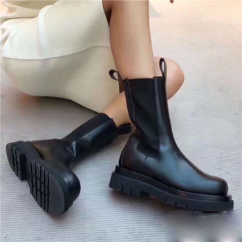 2021 New Winter Genuine Leather Chelsea Boots Women Platform Ankle Boots Flat Botas Mujer Ladies Slip-on Short Booties