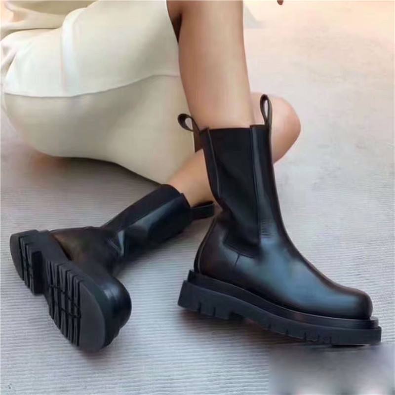 Joy Rose 2020 nuevas Botas Chelsea negras de moda para Mujer Botas de cuero genuino botines planos Mujer Botines cortos deslizantes - 5