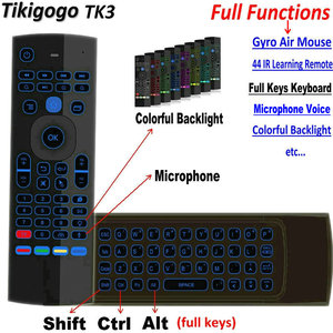 Image 1 - Tikigogo TK3 backlight Microphone 2.4G Air Mouse Mini Keyboard 44 IR Learning for Android Smart TV Box PK MX3 t3 Remote control