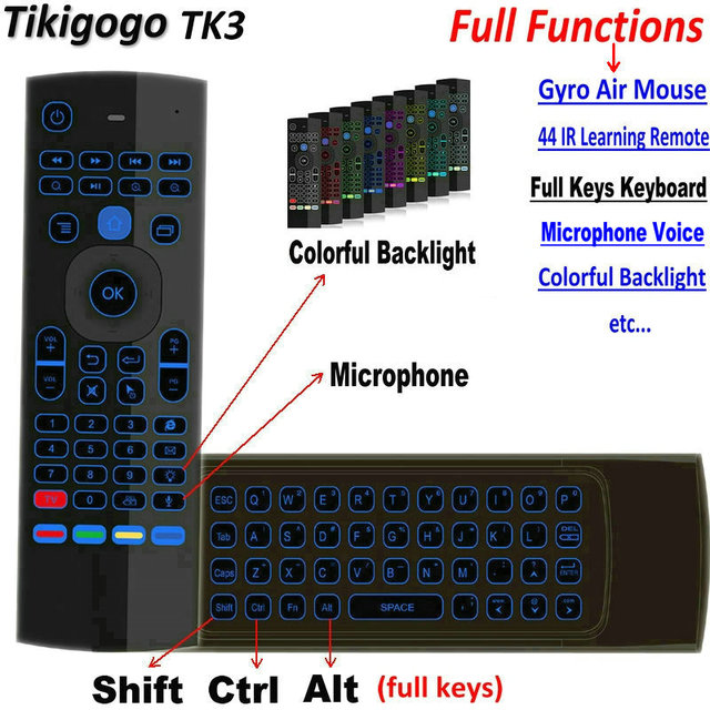 Tikigogo TK3 backlight Microphone 2.4G Air Mouse Mini Keyboard 44 IR Learning for Android Smart TV Box PK MX3 t3 Remote control