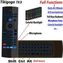 Tikigogo TK3 podświetlenie mikrofon 2.4G air mouse mini klawiatura 44 uczenie IR dla android smart tv opakowanie PK MX3 t3 pilot zdalnego sterowania