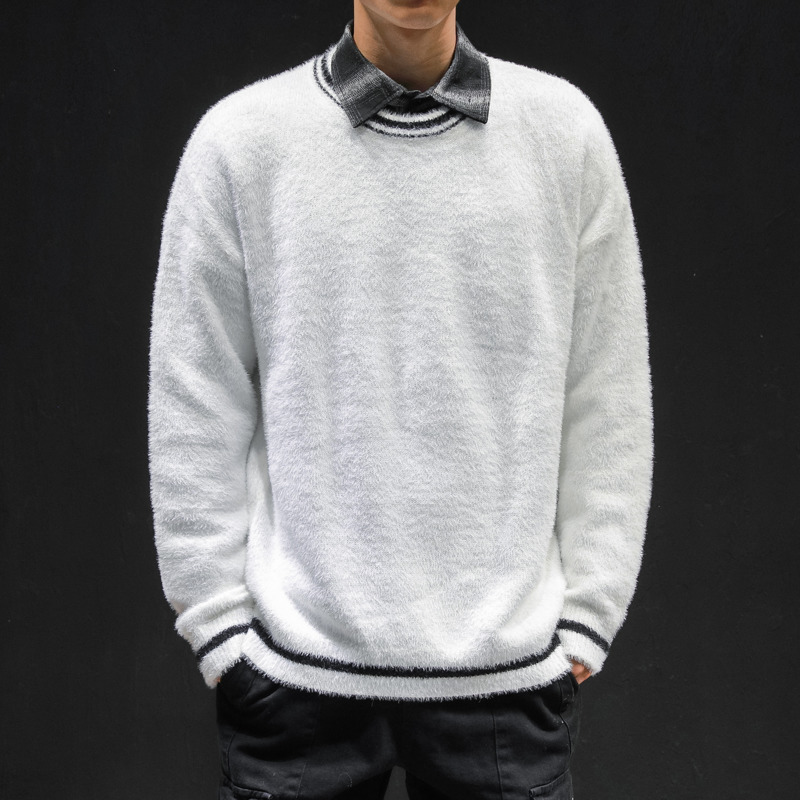 Autumn New Sweater Men Slim Fashion Solid Color O-neck Knit Pullover Man Streetwear Versatile Warm Large Size Sweater Clothes