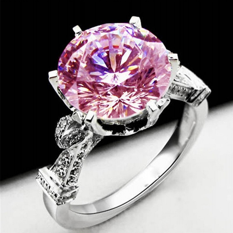 Real Solid 925 Sterling Silver Diamond Rings for Women Luxury Wedding Lotus flower 6ct Pink topaz gemstone Ring Jewelry