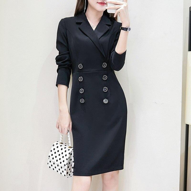 robe blazer 2019Double-Breasted Women'S Dress Suit Long Black Work Women Blazer Dress Plus Size 4xl 5xl Womens Work Blazer Dress