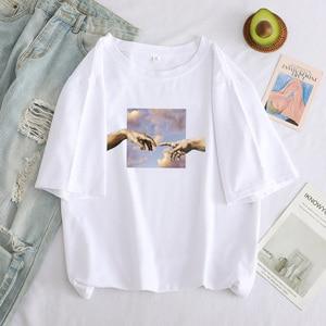 Женская футболка Ангел защитить меня от принтом дьявола и негабаритных Harajuku образным вырезом, коротким рукавом и изображением героев мультфильмов Летняя женская футболка|Футболки|   | АлиЭкспресс