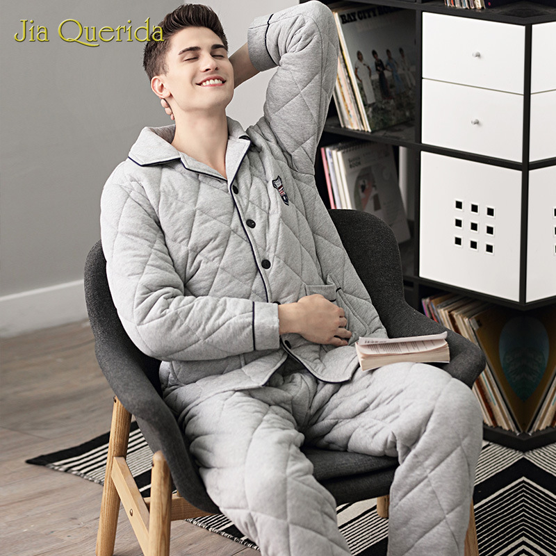 Pajamas Men's Winter Three-layer Padded 100% Cotton Plus Size Warm Home Clothing Winter Sleepwear Cotton Home Suits Pyjama Mens