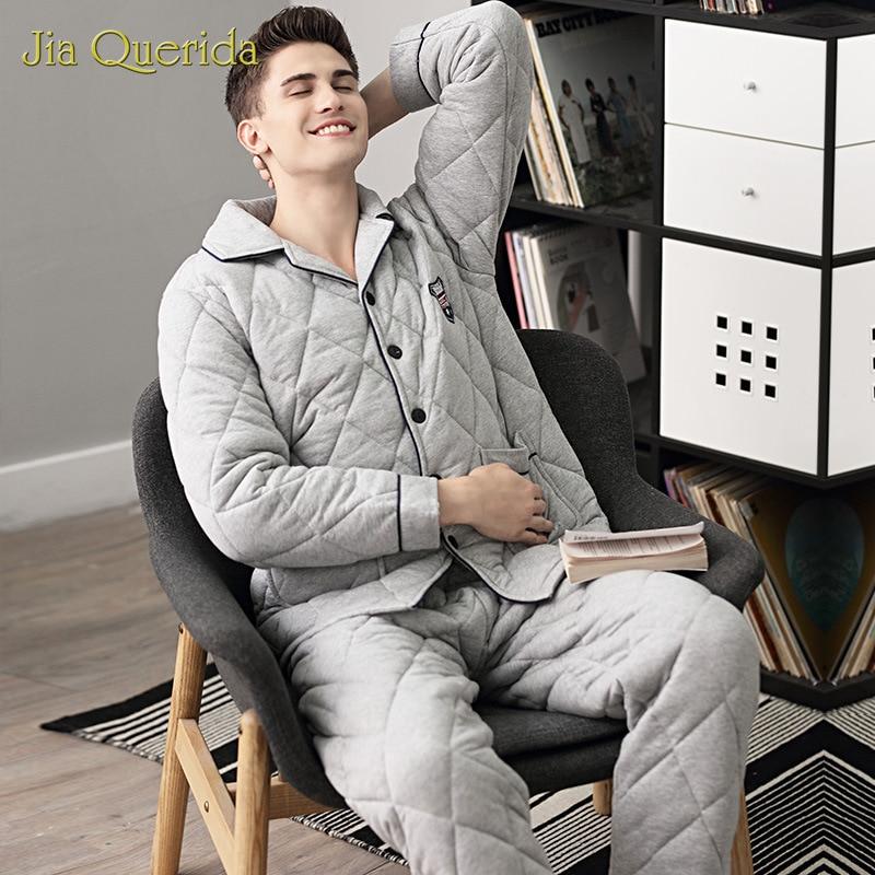 Pajamas Men's Winter Three-layer Padded 100% Cotton Plus Size Warm Home Clothing Winter Sleepwear Cotton Home Suits Pyjama Mens