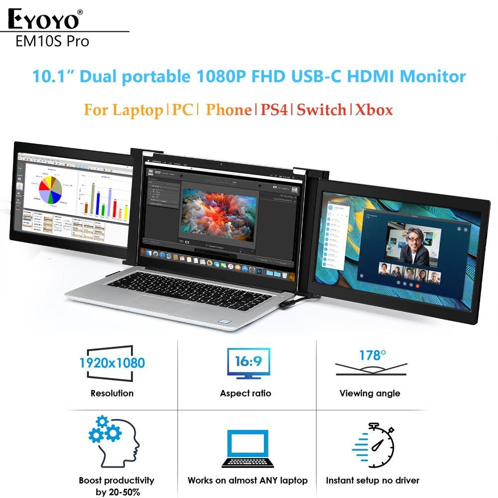 """Eyoyo 10 """"podwójny przenośny Monitor gamingowy IPS 1920x1080 USB C HDMI wyświetlacz FHD drugi ekran do laptopa PC telefon PS4 Xbox Switch"""