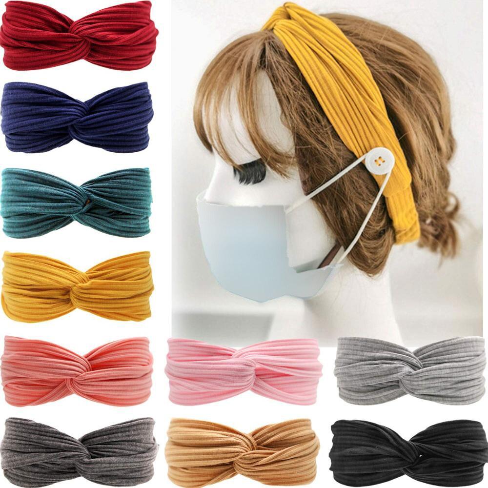 10 шт. в упаковке, ободки для медсестры, маска с кнопками, Нескользящие эластичные повязки на голову, завязанные, в стиле бохо, перекрещивающи...