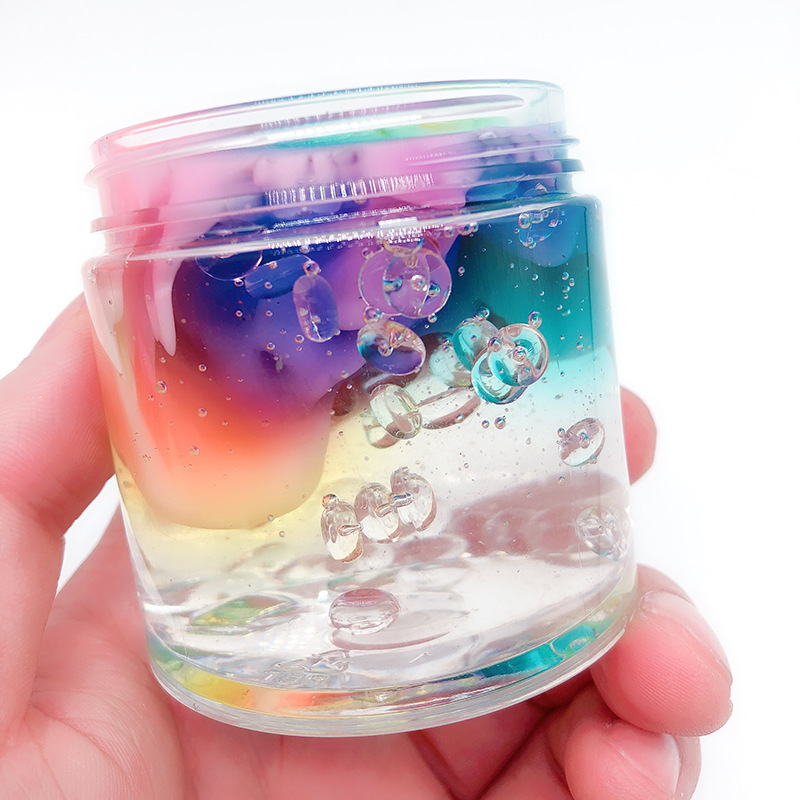 Rainbow Crystal Mud Mixed Cloud Colored Crystal Mud Poking Milk Mud Decompression Magic Toy