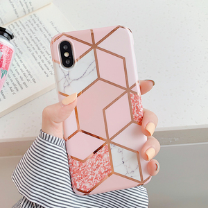 LOVECOM Plating Geometric Phone Case For iPhone 12 Mini 11 Pro Max XR XS Max 6 7 8 Plus X Soft IMD Marble Phone Back Cover Cases